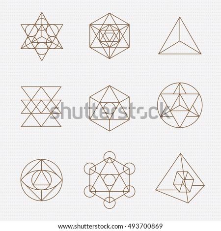 Sacred geometry. Sacred geometry vector design elements. Philosophy, spirituality, alchemy, religion, symbols and elements.
