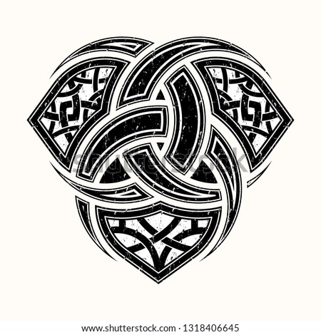 Sacred geometry. Sacred symbol of Vikings. Ancient sign of eternal life. Scandinavian grange style. Triskelion. Triskele. Valknut. Black Nordic tattoo. Symbol of water, air and fire. Culture of Celts. Stock photo ©