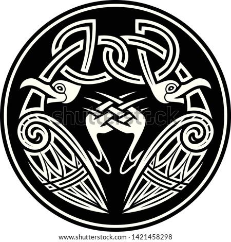Sacred geometry. Sacred symbol of Vikings. Traditional ancient Celtic pattern. Scandinavian style. Triskelion. Triskele. Valknut. Black Nordic tattoo. Celts culture.