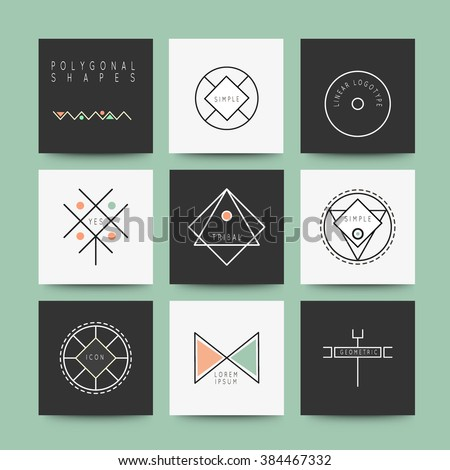 Sacred Geometry, Set of minimal geometric monochrome shapes. Business signs, labels, trendy hipster icons and logotypes. Religion, philosophy, spirituality, occultism symbols collection