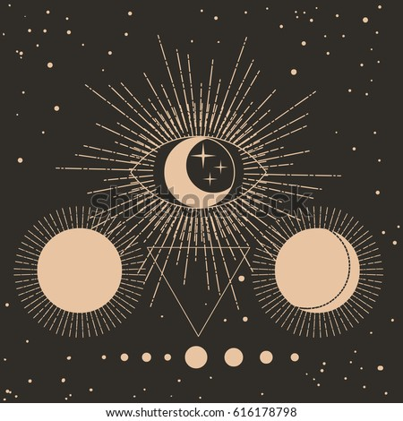 Sacred geometry. Solar system, cosmic objects. Vector hand drawn illustration