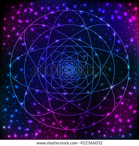 Flower Of Life The Interlocking Circles Ancient Symbol In Front Of