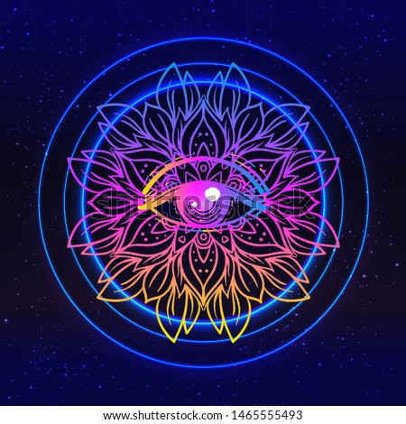 Sacred geometry symbol with all seeing eye in acid colors. Mystic, alchemy, occult concept. Design for indie music cover, t-shirt print, psychedelic poster, flyer. Astrology, esoteric, religion.