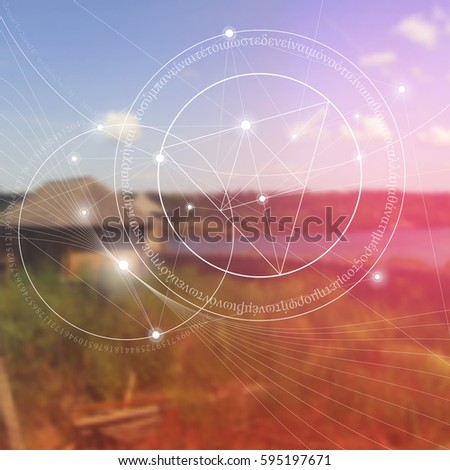 Sacred geometry symbol with golden ratio digits. Mathematics and spirituality in nature. Translation of greek text - there is no beginning and no end of the Universe, of the Life and the Bliss.
