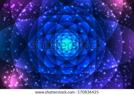 Sacred geometry symbols and elements background. Cosmic, universe, big bang, alchemy, religion, philosophy, astrology, science, physics, chemistry and spirituality themes. Mandala illustration.