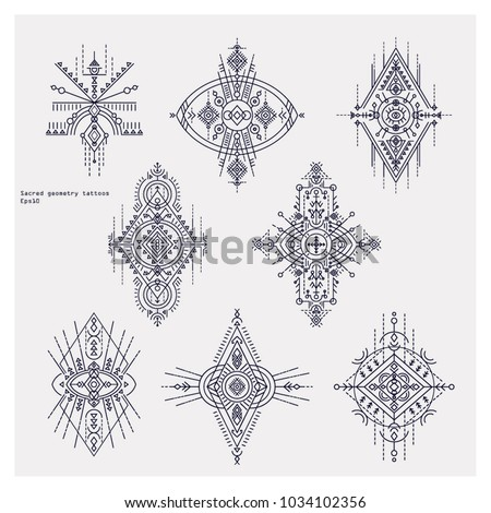 Sacred geometry tattoo set. Alchemy designs. Ethnic style  can be used for textile, yoga mats, phone cases, rugs