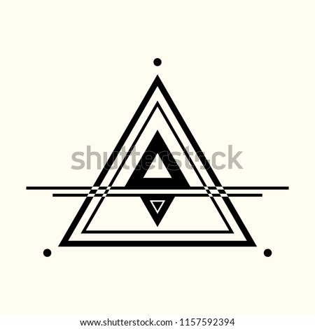 Sacred geometry. The crossed linear triangles. Secret symbol of geometry. Triangular symbol. Labyrinth of illuminates. Alchemy; religion; philosophy; astrology and spirituality. Vector illustration.