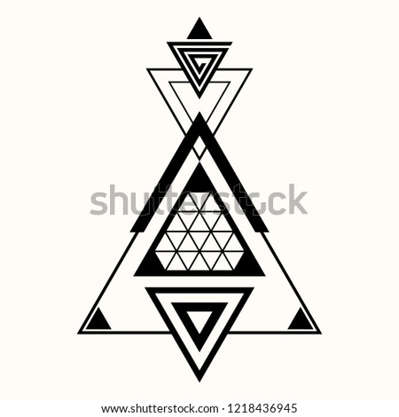 Sacred geometry. The crossed linear triangles. Secret symbol of geometry. Triangular symbol. Glyph. Structure of illuminates. Hypnotic labyrinth. Alchemy; religion; astrology, spirituality. Vector.