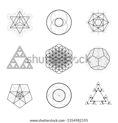 Sacred geometry vector design elements. Alchemy, religion, philosophy, spirituality, hipster symbols.