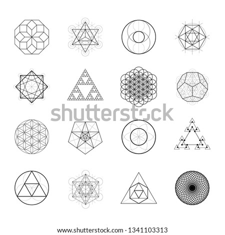 Sacred geometry vector design elements. Alchemy, religion, philosophy, spirituality hipster symbols