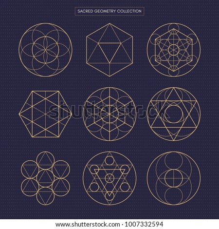 Sacred geometry vector design elements. Original outline vector (non expanded outline). Philosophy, spirituality, alchemy, religion, symbols and elements. Dark theme background.