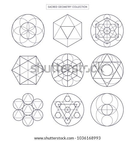 Sacred geometry vector design elements. Original outline vector (non expanded outline). Philosophy, spirituality, alchemy, religion, symbols and elements. White background.