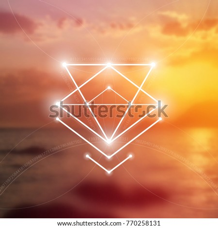 Sacred geometry vector illustration in front of blurry photorealistic backdrop.