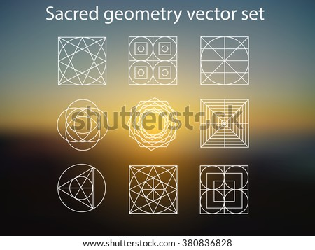 sacred geometry vector set of