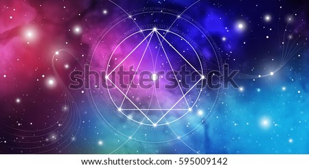Sacred geometry website banner with golden ratio numbers, interlocking circles, triangles and squares, flows of energy and particles in front of outer space background. The formula of nature.