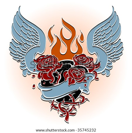 Sacred Heart Tattoos. Flaming Heart Tattoo Images.