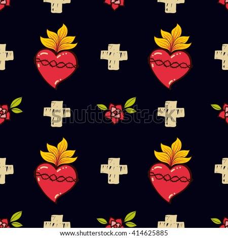 sacred heart  cross  rose