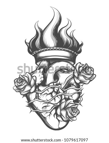 Sacred Heart drawn in engraving style. Vector illustration.