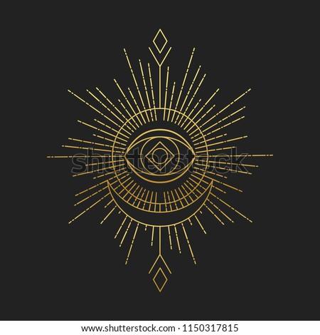 Sacred masonic symbol. Abstract vector illustration