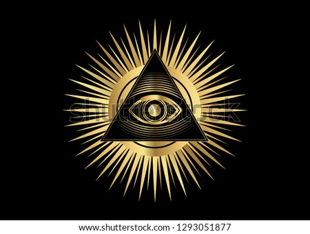 Sacred Masonic symbol. All Seeing eye, the third eye (The Eye of Providence)  inside triangle pyramid. New World Order. Gold icon alchemy, religion, spirituality, occultism. Vector isolated or black