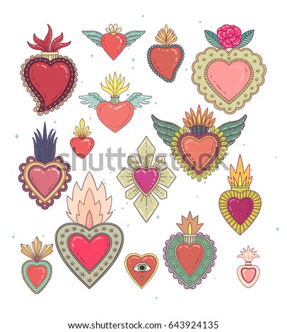 Sacred mexican heart color set