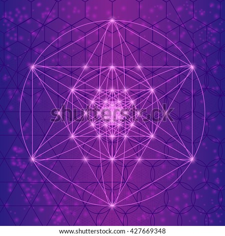 Sacred spiritual geometry symbols and elements. Mesh with triangles, circles and squares. Geometric religion sign with spiritual energy. Spiritually sacred sign.