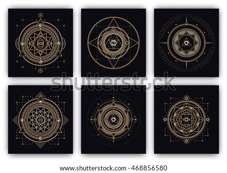 Sacred Symbols Design Set - Collection of Abstract Geometric Illustrations - Gold and White Elements on Dark Background
