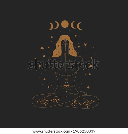 Sacred Witch or magic woman and mystical Symbols. Flat vector illustration. Ornament beautiful girl in a yoga pose. Lotus meditation. International yoga day card. Vector illustration.