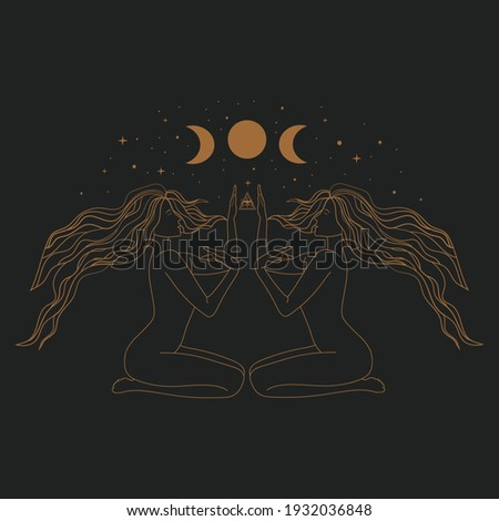 Sacred Witch or magic woman and mystical Symbols. Flat vector illustration. Ornament two beautiful girls in a yoga pose. Lotus meditation. International yoga day card. Vector illustration.