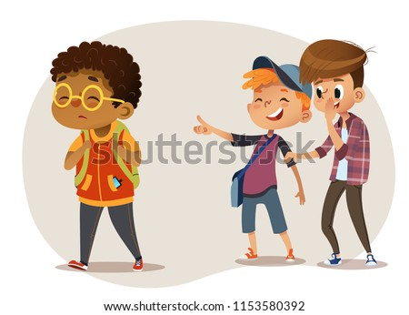 Sad African-American boy wearing glasses going through school. School boys laughing and pointing at the obese boy. Body shaming, fat shaming. Bulling at school. Vector illustration. Isolated