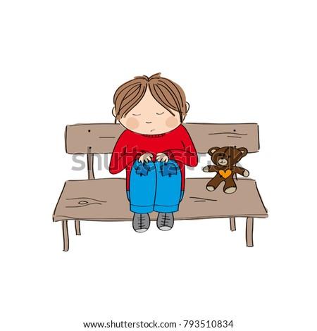 sad and alone little boy