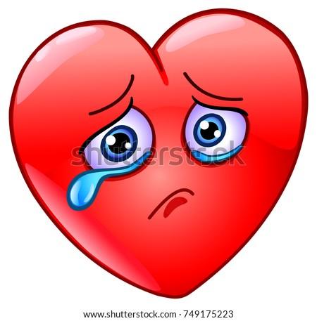 sad and crying heart emoticon