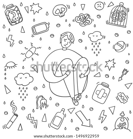 Sad and depressed boy sitting. Heartbreak and sad doodle man. Depression signs and symptoms. Concept of stress, sadness, depression, pain isolated on white background.