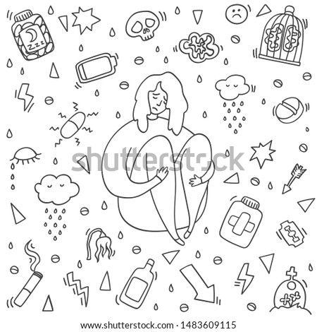 Sad and depressed girl sitting. Depression girl doodle. Heartbreak and sad doodle woman. Depression signs and symptoms. Concept of stress, sadness, depression, pain isolated on white background.