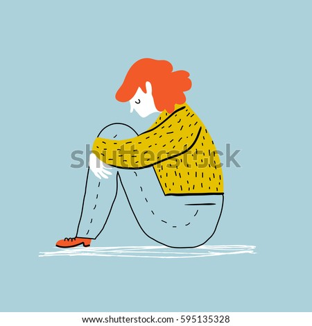 Sad and depressed girl  sitting on the floor. Creative vector illustration.