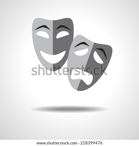 sad and happy theater masks on