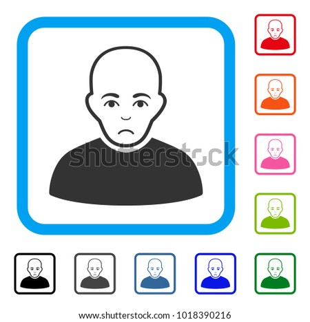 sad bald man vector pictograph
