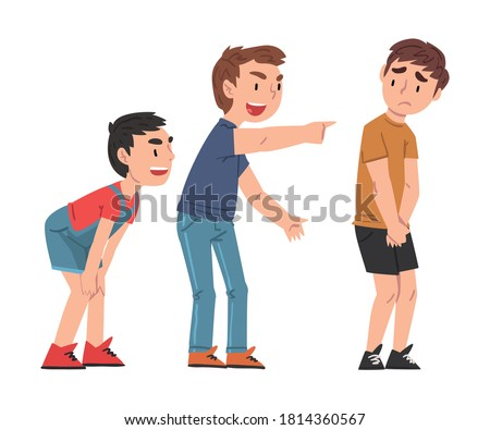Sad Boy Bullied by Others, Two Boys Mocking, Laughing and Pointing Fingers at Him, Mockery and Bullying at School Problem Cartoon Style Vector Illustration Stockfoto ©