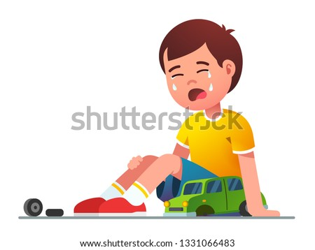 Sad boy kid crying over broken toy car sitting on floor. Upset weeping kid. Child cartoon character. Childhood and preschool problem coping. Flat vector isolated illustration ストックフォト ©