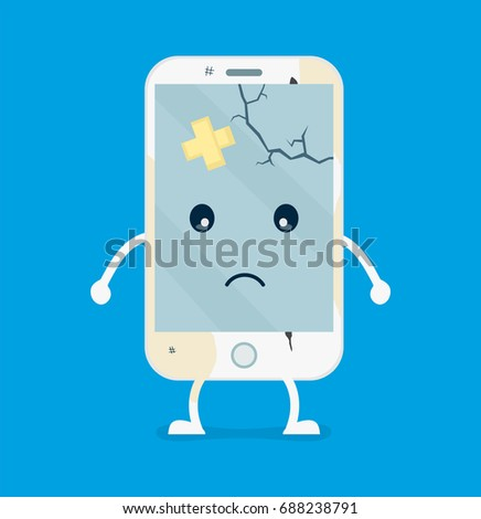 Sad broken with cracks and scratches dirty smartphone mobile phone.Vector flat cartoon illustration character icon.Isolated on white background.Repair smartphones concept