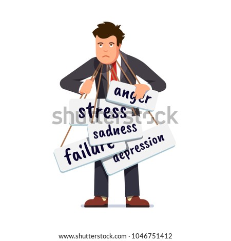 Sad business man overburdened by stress, depression, anger, sadness & failure melancholy. Entrepreneur business person negative emotions burden and problems concept. Flat character vector illustration