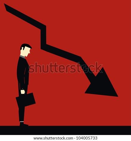 Sad businessman down chart