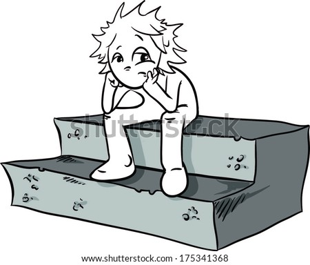 sad cartoon character sitting