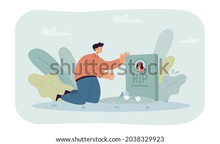 sad cartoon man putting flowers