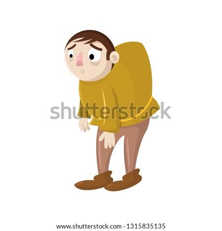 sad cartoon vector hunchback
