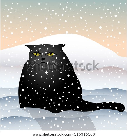 sad cat sitting in the snow, vector