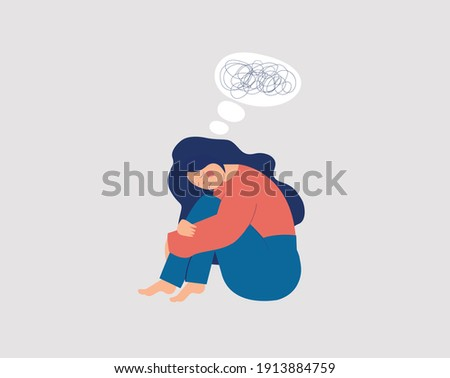 Sad character girl sitting and hugging her knees. Young woman suffer from dementia or loss memory. Amnesia depression concept. Struggling against mental disorder or Alzheimer. Vector illustration. Сток-фото ©