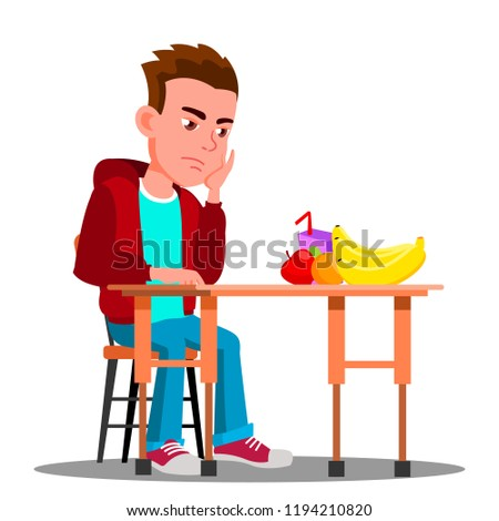 Sad Child At The Table With Food Refuses To Eat Vector. Isolated Illustration