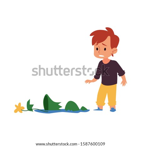 Sad child looking at broken vase, guilty cartoon boy in trouble broke a flower pot into pieces. Little kid is sorry for accident, isolated flat hand drawn vector illustration on white background