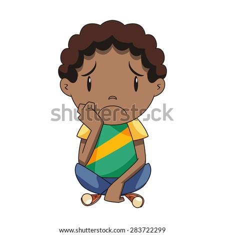 sad child  vector